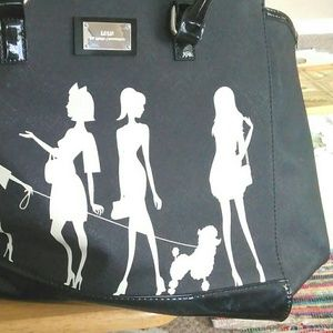 Lulu Guinness black patent leather accent tote